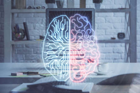 Double exposure of work space with computer and human brain drawing hologram. Brainstorm concept. 写真素材