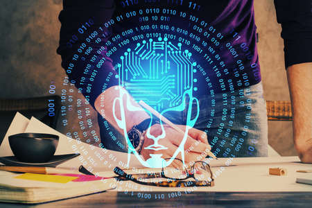 Haman brain double exposure icon with man hands background. Concept of Ai. 写真素材