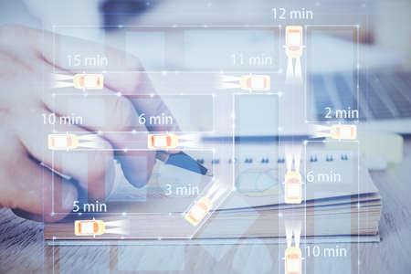 Human hands background and autonomous self drive pilot vehicle concept. Multi exposure.