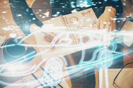 Tech autopilot theme hologram over womans hands taking notes background. Concept of hightech. Double exposure