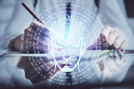 Multi exposure of womans writing hand on background with brain hud. Concept of learning. 写真素材