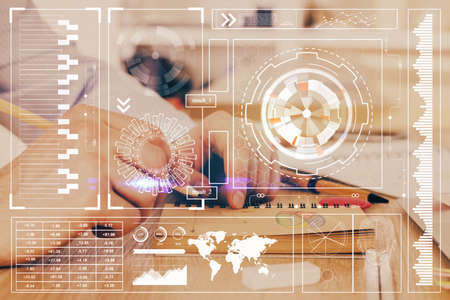 Humans hands with technology theme double exposure icons. Concept of big data. 免版税图像