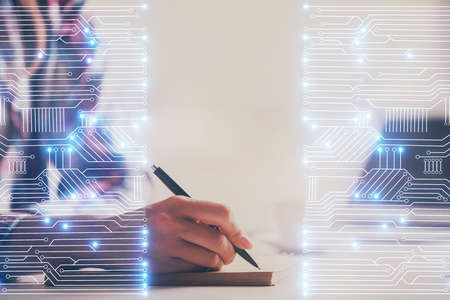 Technology theme hologram over womans hands taking notes background. Concept of Tech. Double exposure