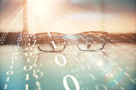 Data tech hologram with glasses on the table background. Concept of technology. Double exposure. Stockfoto
