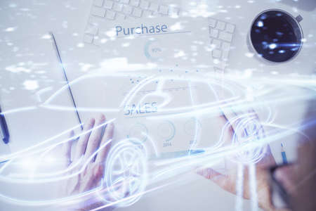Human hands background and autonomous self drive pilot vehicle concept. Multi exposure.
