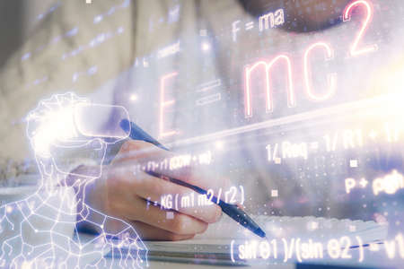Science formula hologram over womans hands taking notes background. Concept of study. Double exposure