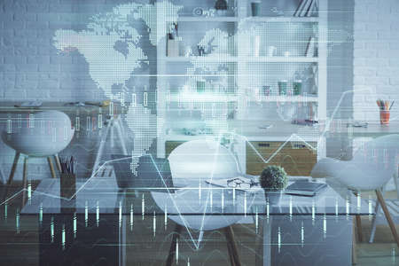 Double exposure of financial graph drawing and office interior background. Concept of stock market. Standard-Bild