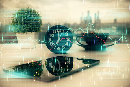 Double exposure of forex graph drawing and cell phone background. Concept of financial data analysis