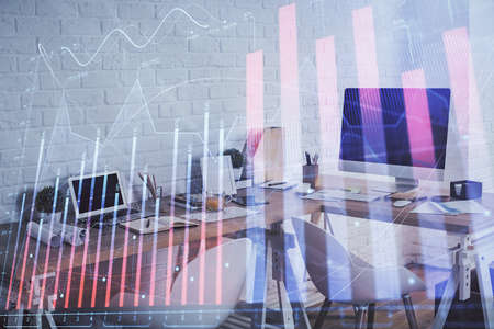 Multi exposure of stock market chart drawing and office interior background. Concept of financial analysis. Banque d'images