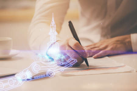 Creative start up concept hologram double exposure with human hand background. Stockfoto