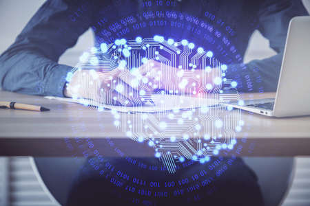 Brain multi exposure icon with man hands background. Concept of learning. Stockfoto