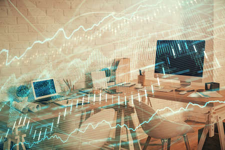Multi exposure of stock market chart drawing and office interior background. Concept of financial analysis.