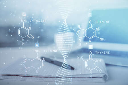Double exposure of DNA drawing and desk with open notebook background. Concept of education