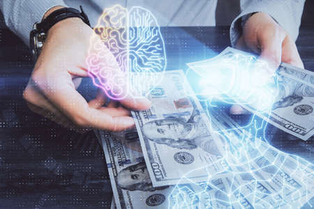 Multi exposure of vr glasses drawing hologram and USA dollars bills and man hands.