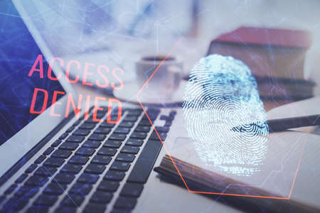 Double exposure of fingerprint drawing and desktop with coffee and items on table background. Concept of security. Imagens