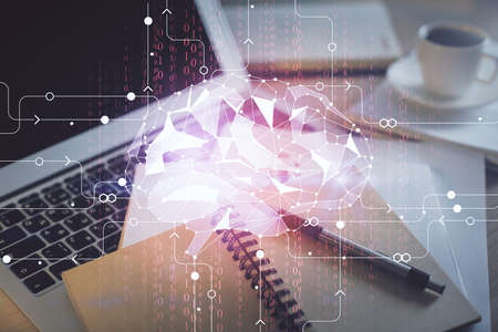 Double exposure of brain drawing and desktop with coffee and items on table background. Concept of research.