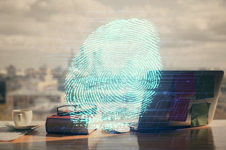 Double exposure of finger print drawing and desk with open notebook background. Concept of security Imagens