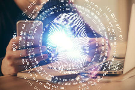 Double exposure of man's hands holding and using a digital device and fingerprint hologram drawing. Security concept.