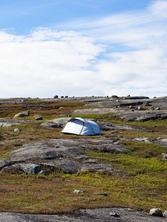 A single white tent among the stones and rocks covered with mosses in the Arctic Circle
