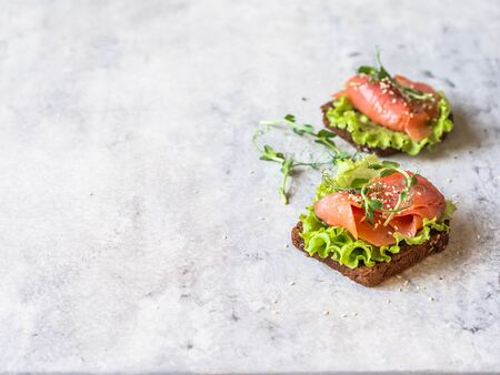 Two toasts with salmon slices, sesame, pea sprouts and lettuce on grey background. 版權商用圖片