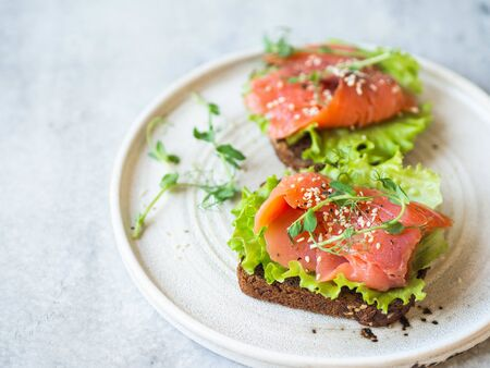 Two toasts with salmon slices, sesame, pea sprouts and lettuce on a white ceramic plate on grey background. Copy space