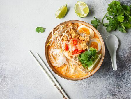 Soupe laksa aux nouilles malaisiennes avec poulet, crevettes et tofu dans un bol sur fond gris. Vue de dessus. Espace de copie Banque d'images