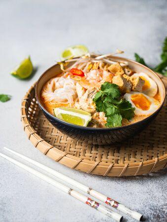 Malaysische Nudeln Laksa-Suppe mit Hühnchen, Garnelen und Tofu in einer Schüssel auf grauem Hintergrund Standard-Bild
