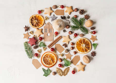 Round knolling composition of various items and food related to Christmas on light background. Flat lay. Top view. Copy space Stock fotó - 159389906