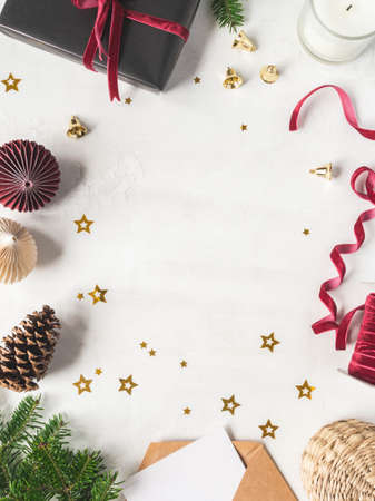 Frame of various Christmas decor on white background. Top view. Copy space Stock fotó