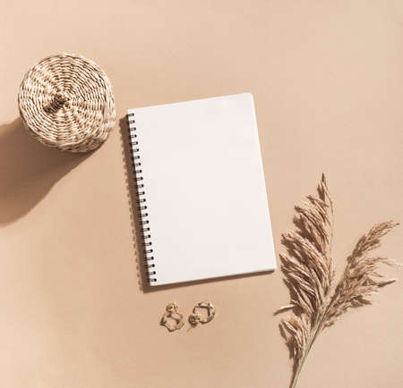 White blank notepad sheet with spiral, sprigs of reeds, gold earrings and wicker box on pastel beige background. top view. Copy space. Flat lay Stock fotó