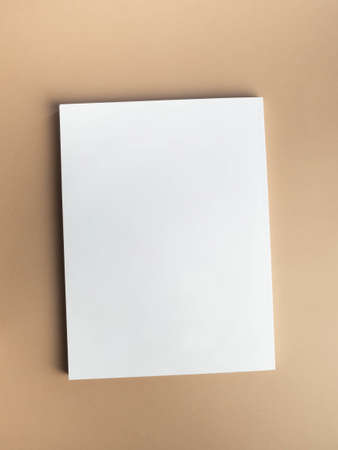 White magazine cover mockup on beige background. top view. Copy space Stock fotó - 159271490