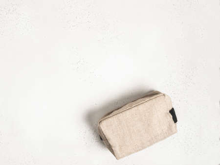 Eco textile cosmetic bag on gray background. top view. Copy space Stock fotó - 159449733