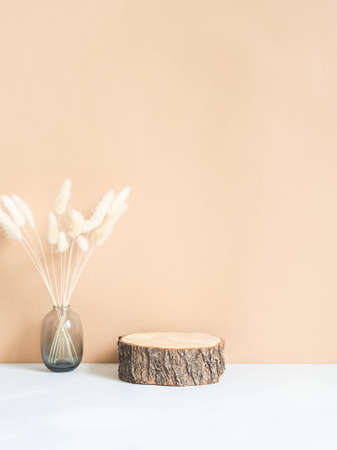 Natural wood podium and dry flowers in glass vase on beage background. Copy space. Front view
