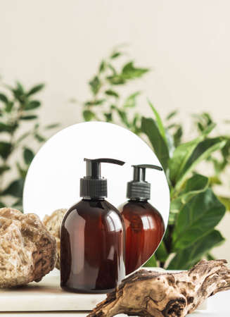 Stone, piece of wood and brown cosmetic bottle in creative natural composition with mirror on nature plant background. Copy space. Front view. Product mock up Stock fotó