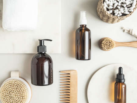 Flat lay of female body and face care products. Zero waste concept. Eco-friendly bath set. Top view