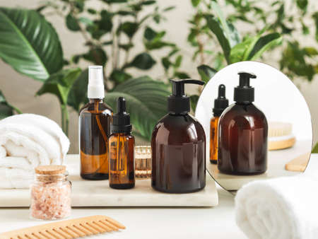 Set of female skin care products. Makeup products and skin cleansers on nature plant background. Copy space. Front view