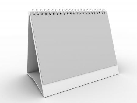 White planificateur journalier, blanc ou Calenda Banque d'images