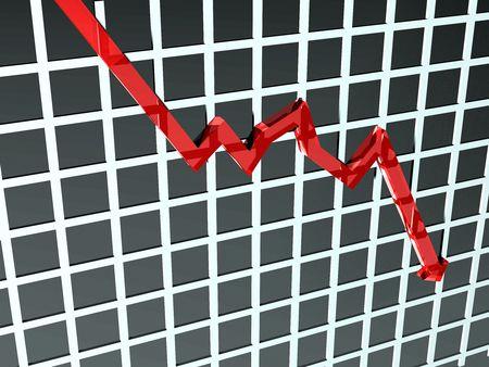 stock predictions: Illustrazione di un grafico dove le cifre improvvisamente caduta Archivio Fotografico