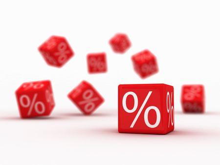 Cubes de symboles de pour cent sur chute rouge. Banque d'images