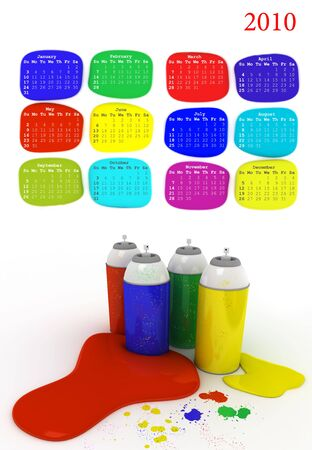 Colour paints, calendar of 2010 on the white background. 3d rendered photo