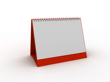 handout: red daily planner or calendar. 3d rendered Stock Photo