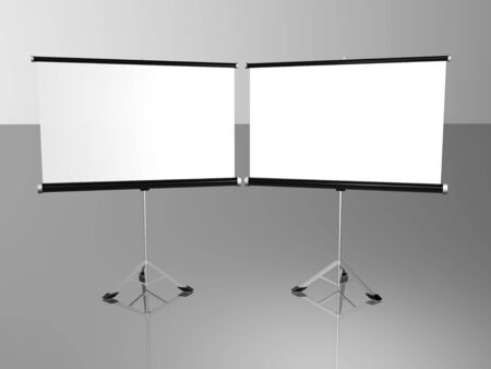 2 white conference screens photo