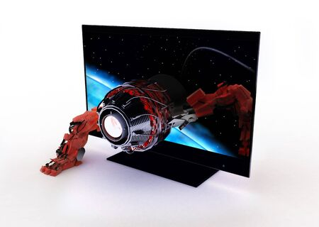 3d TV, red robot laser. 3d rendered Stock Photo - 7716663