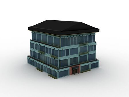 dwell: Model house on white background, 3d rendered