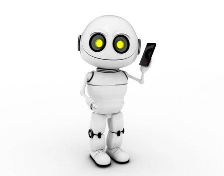 robotics: white robot, 3d rendered, Smiles