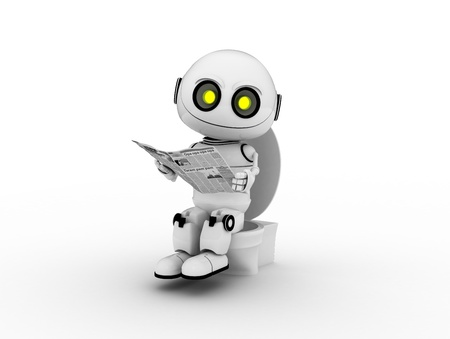 white robot, 3d rendered, Smiles photo