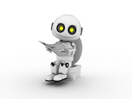 white robot, 3d rendered, Smiles Stock Photo - 8737862
