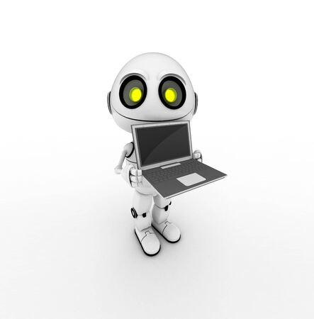 artistry: white robot with notebook, 3d rendered