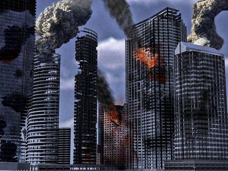 derrumbe: La ciudad en ruinas. 3d rindi� Foto de archivo