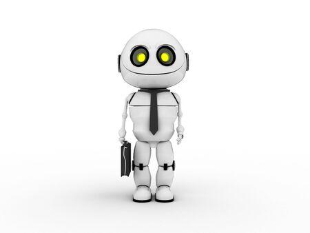 3d flower: White robot businessman Stock Photo